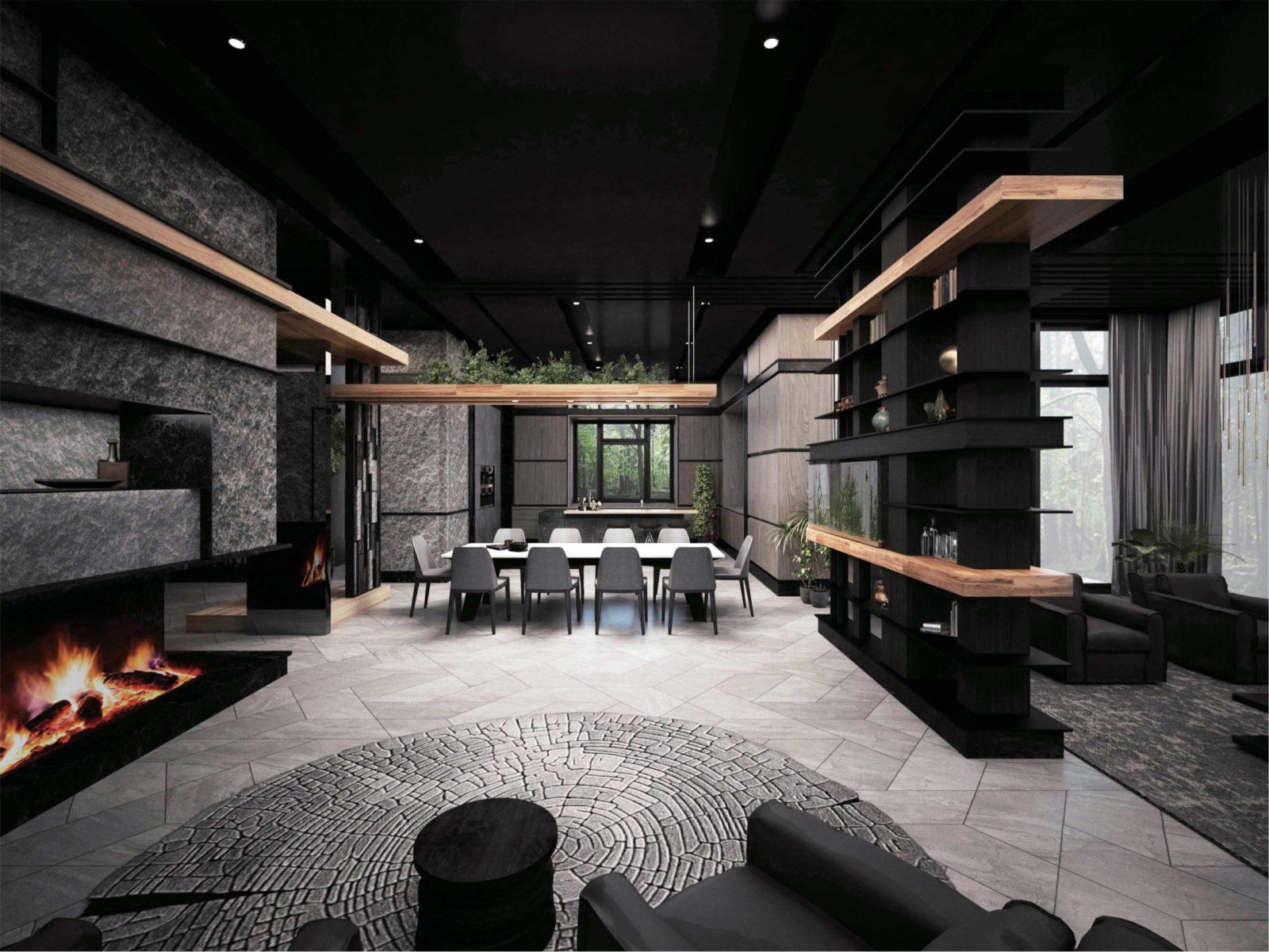 Интерьер гостиной в стиле хайтек