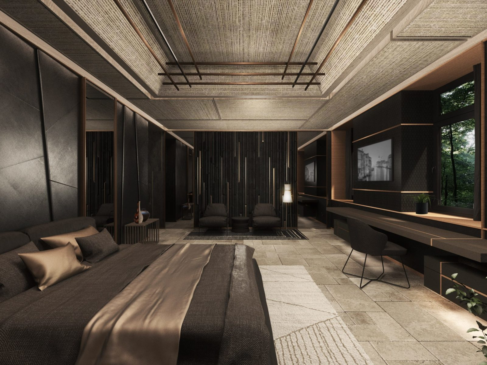 Спальня в стиле хай-тек минимализм