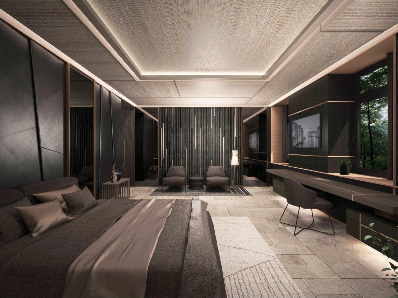 Спальня в стиле хайтек минимализм